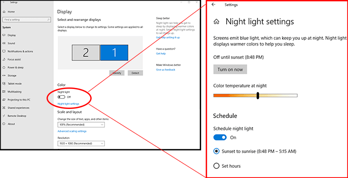 Windows10 nightlight